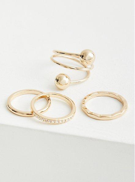 Plus Size Spiral Ball Ring Set of 4 - Gold Tone, , hi-res