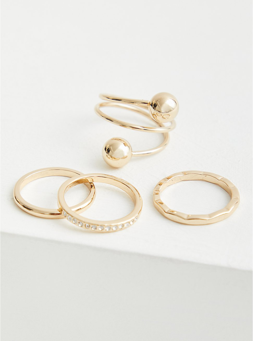Spiral Ball Ring Set of 4 - Gold Tone, , hi-res