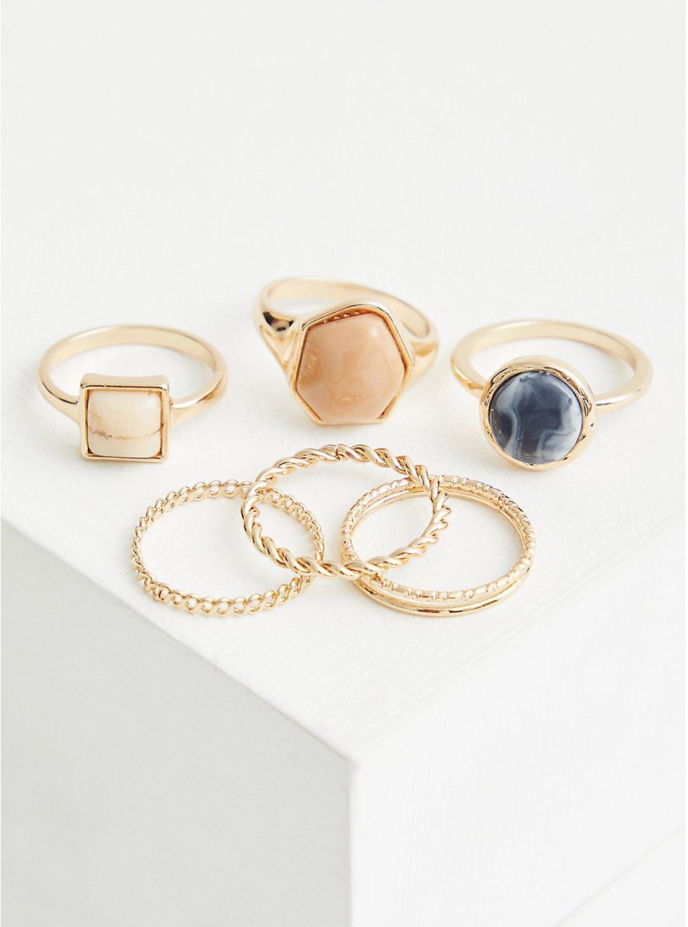 Blue & Faux Natural Stone Ring Set of 6 - Gold Tone , MULTI, hi-res