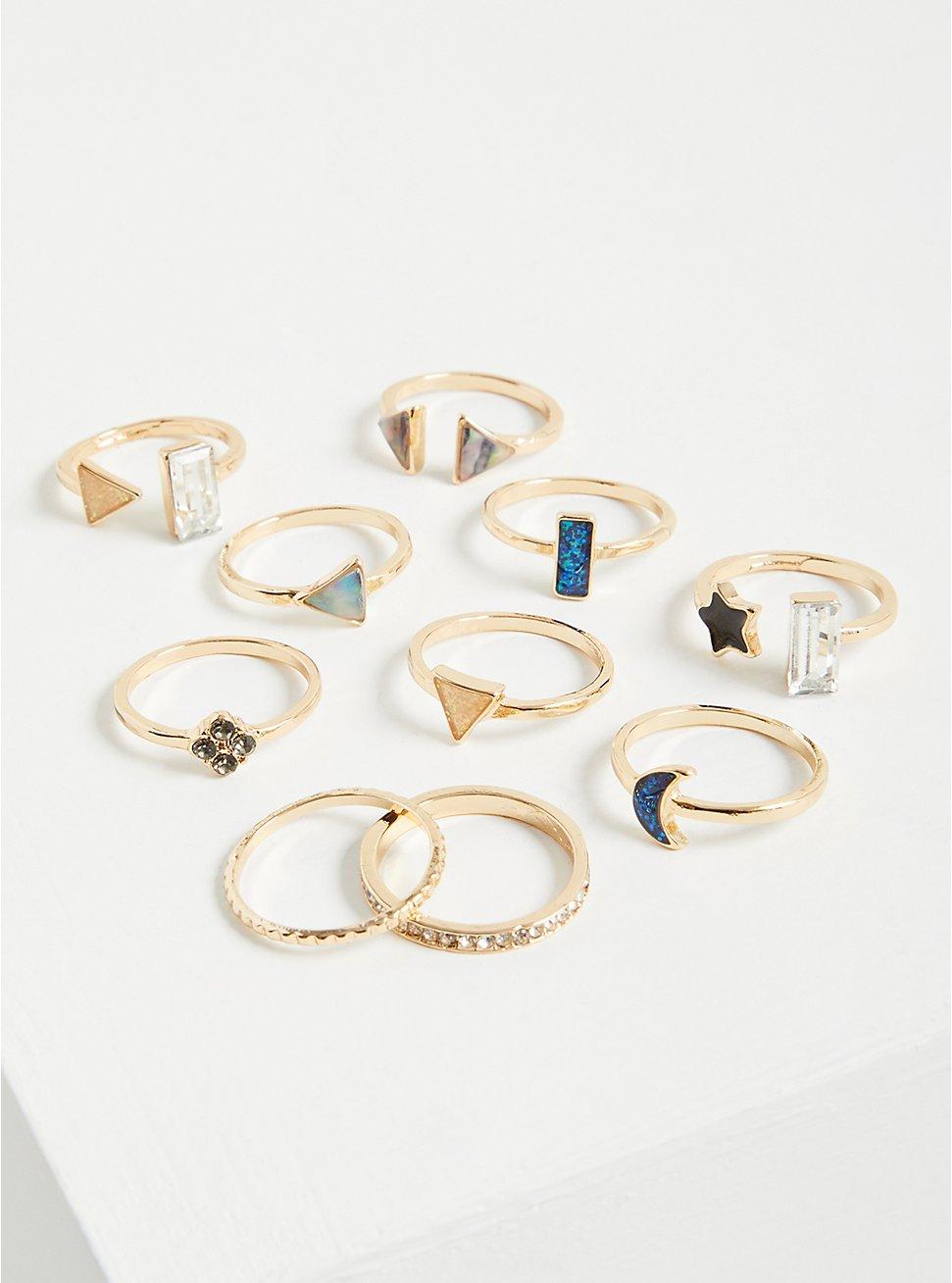 Plus Size Celestial Ring Set of 10 - Gold Tone , MULTI, hi-res