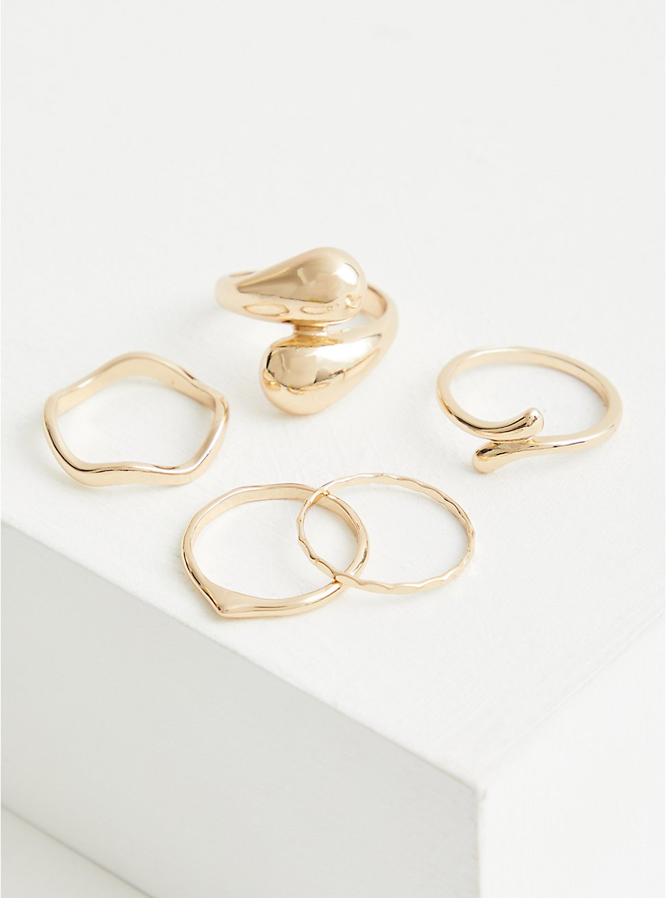 Crossover Ring Set of 5 - Gold Tone , GOLD, hi-res