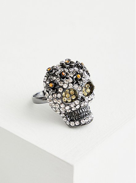 Hematite Pave Skull Statement Ring, BLACK, alternate