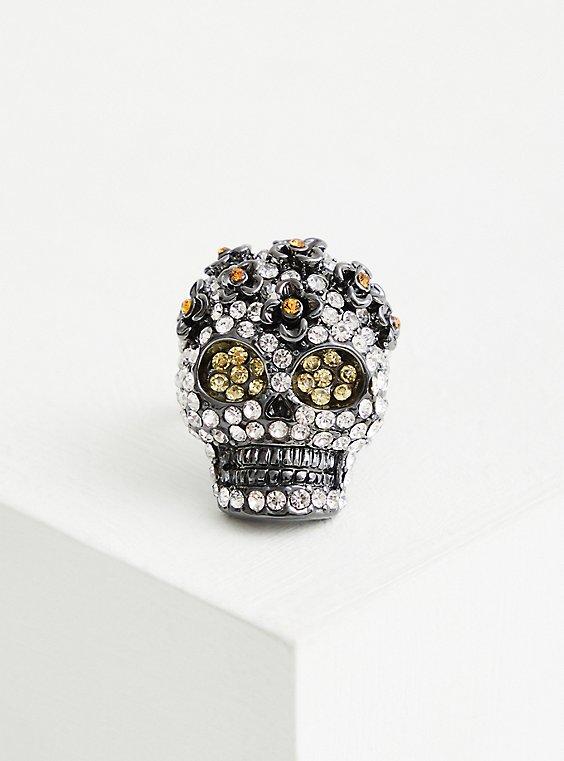 Hematite Pave Skull Statement Ring, BLACK, hi-res