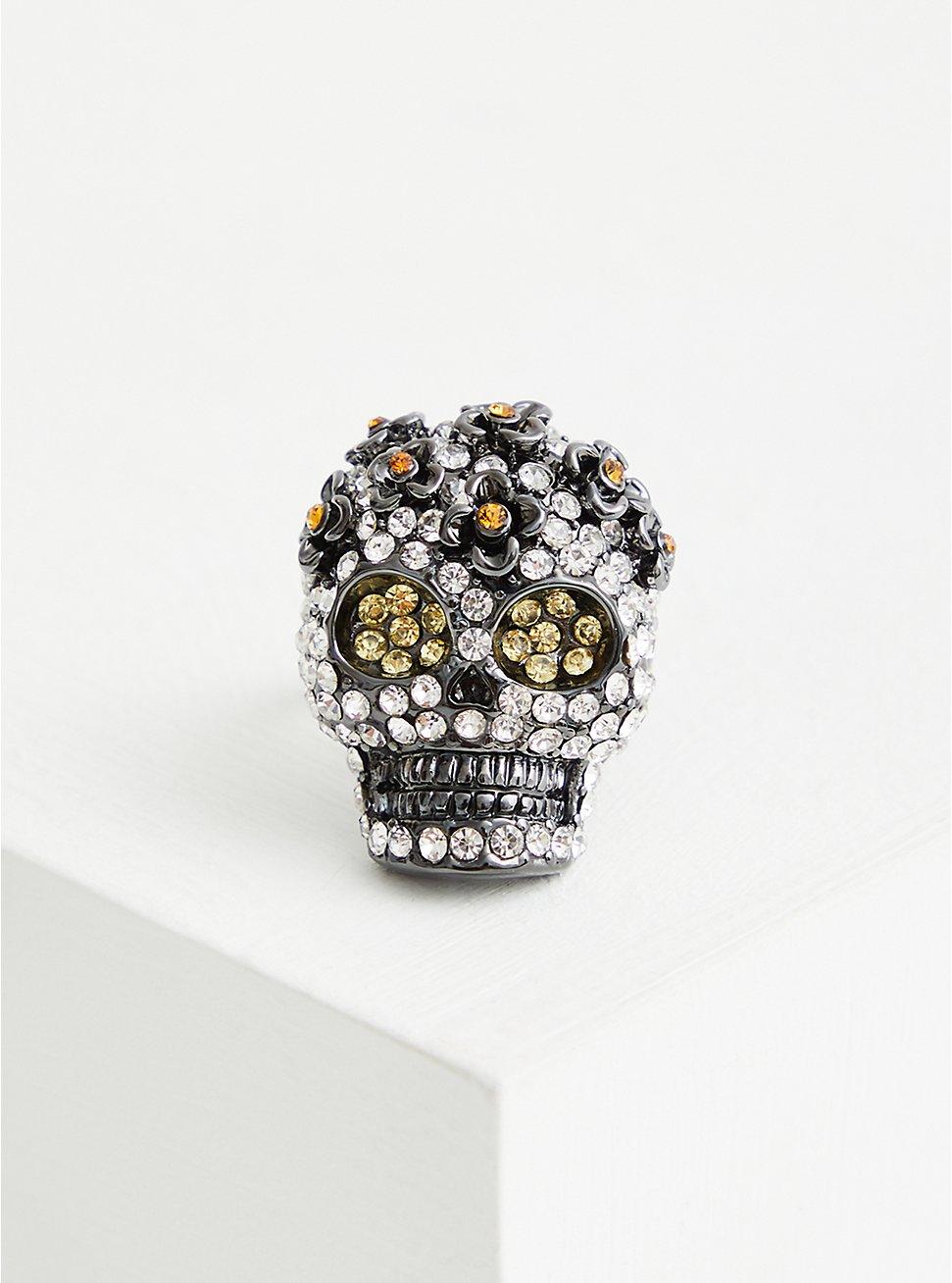 Plus Size Hematite Pave Skull Statement Ring, BLACK, hi-res