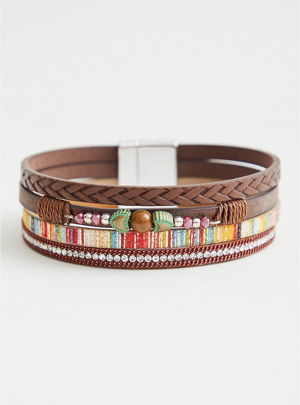 Brown & Orange Magnetic Bracelet, MULTI, hi-res