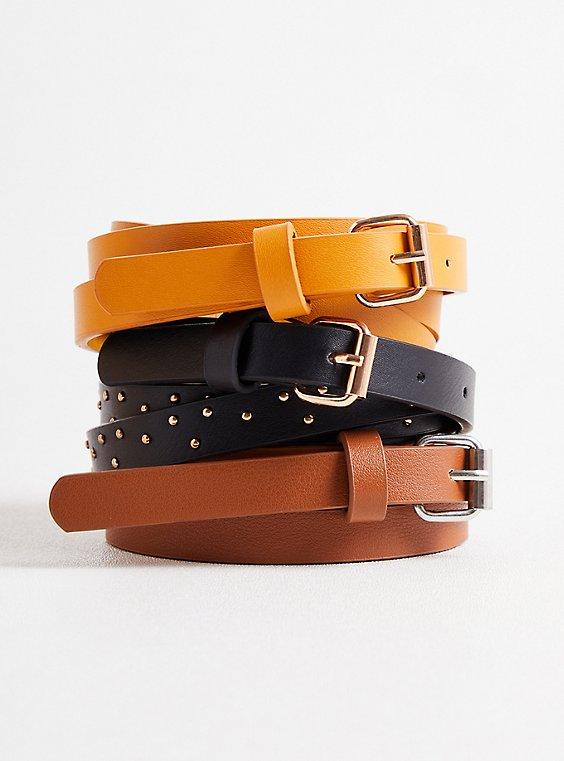 Skinny Belt Trio - Mustard, Black & Cognac , MULTI, hi-res
