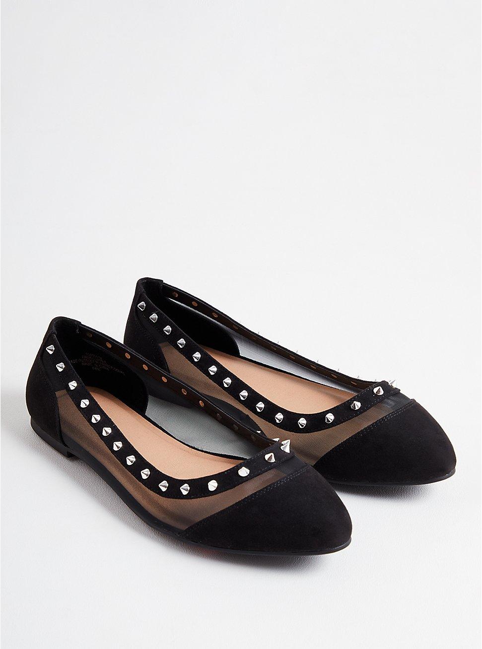 Plus Size Mesh Studded Flat - Black Faux Suede (WW), BLACK, hi-res