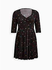 Skater Dress - Super Soft Plush Star Black, STARS - BLACK, hi-res