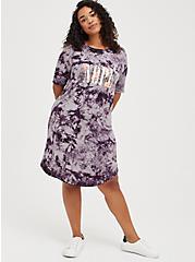 Favorite T-Shirt Dress - Super Soft Purple Tie Dye Nope, TIE DYE, hi-res