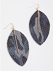 Camo Print Leaf Earring, , alternate