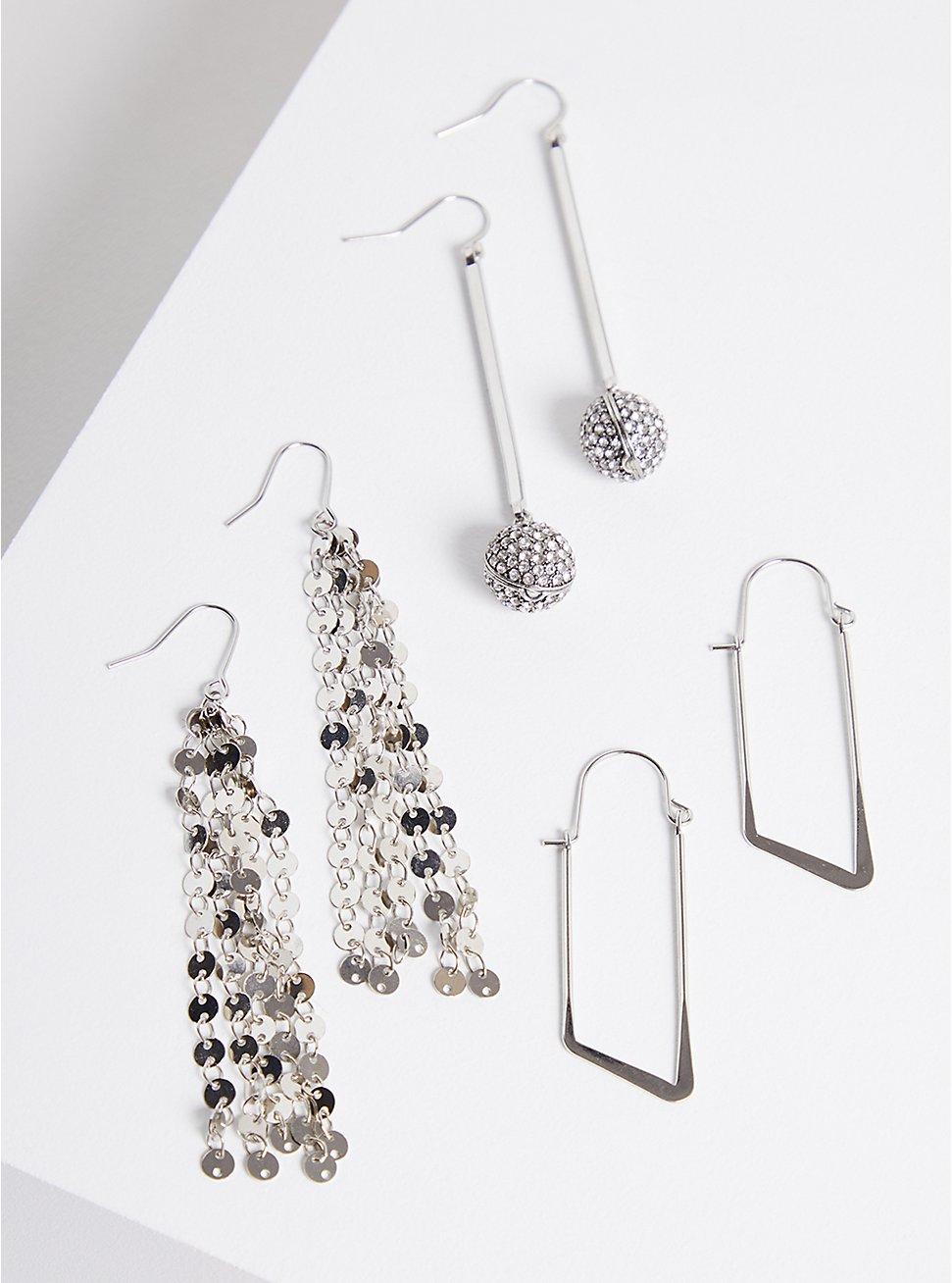 Linear & Drop Earring Set of 3 - Silver Tone, , hi-res