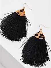 Black Fringe & Leopard Detail Earring , , alternate