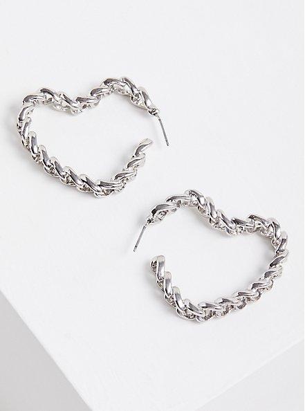 Link Heart Hoops - Silver Tone, , hi-res