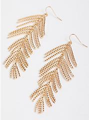 Metal Leaf Earrings - Gold Tone, , alternate
