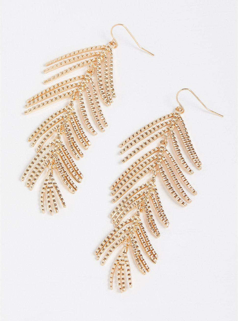 Metal Leaf Earrings - Gold Tone, , hi-res