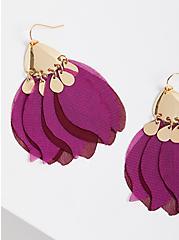 Chiffon Petals Earring - Wine & Gold Tone, , alternate
