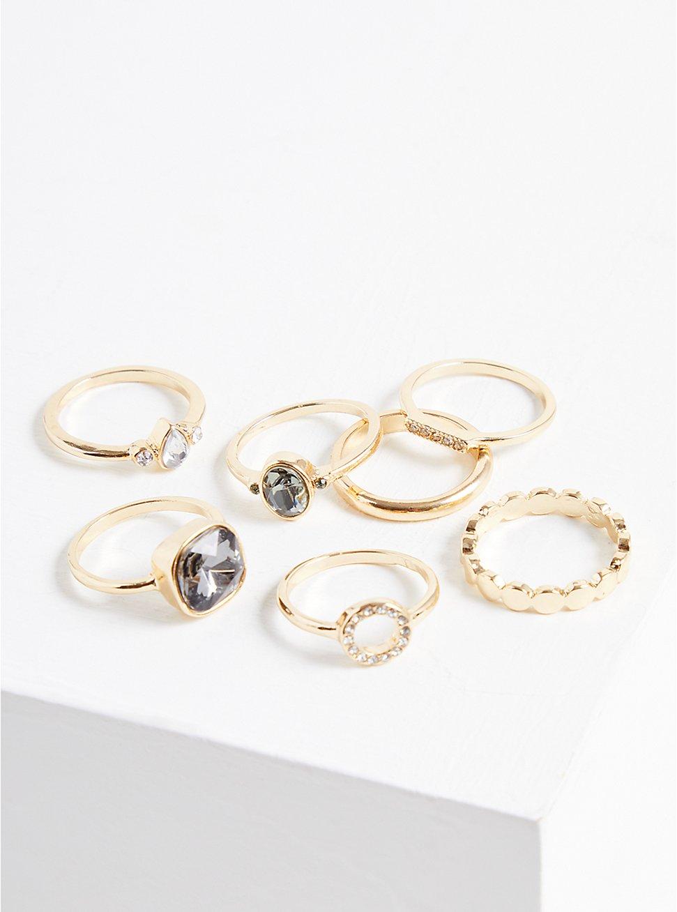 Stone Cocktail Ring Set Of 7 - Gold Tone, MULTI, hi-res