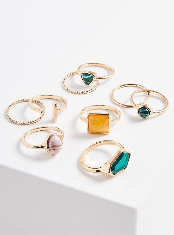 Multi Color Stone Cocktail Ring Set of 9 - Gold Tone, MULTI, hi-res