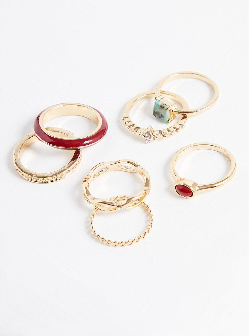 Stacking Ring Set of 7 - Gold Tone & Wine Enamel, MULTI, hi-res