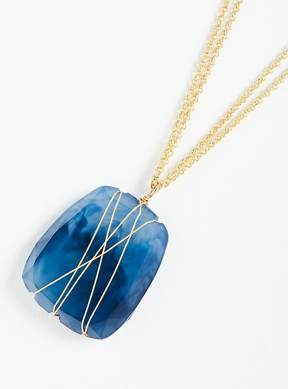 Wire Wrapped Blue Stone Pendant - Gold Tone, , hi-res