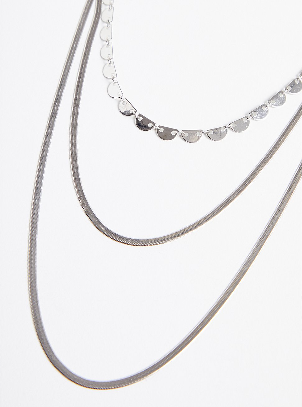 Snake Chain Layered Necklace - Silver Tone, , hi-res