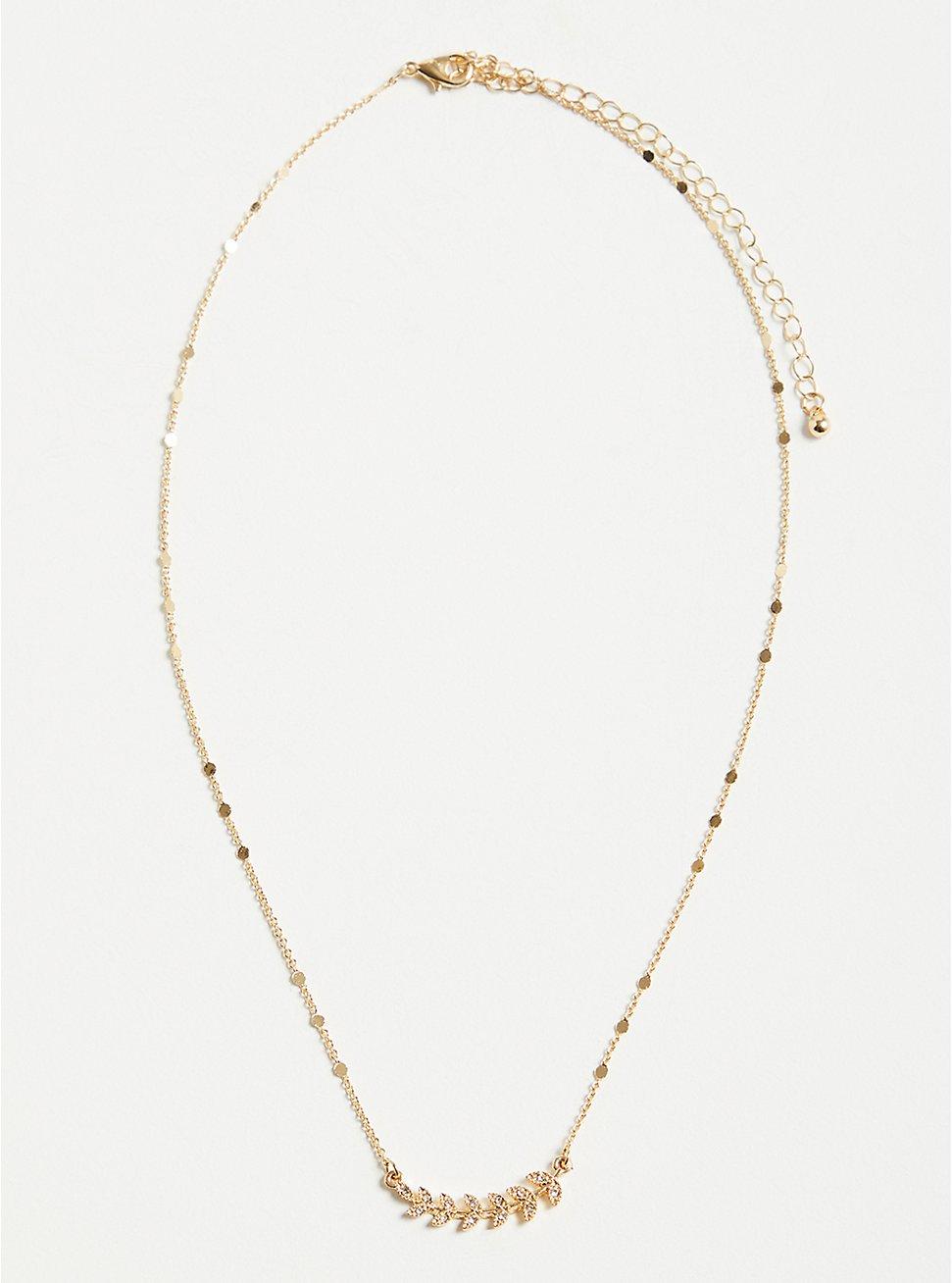 Plus Size Leaf Delicate Necklace - Gold Tone, , hi-res