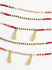 Multilayered Beaded Necklace with Tassels - Burgundy & Olive , , alternate