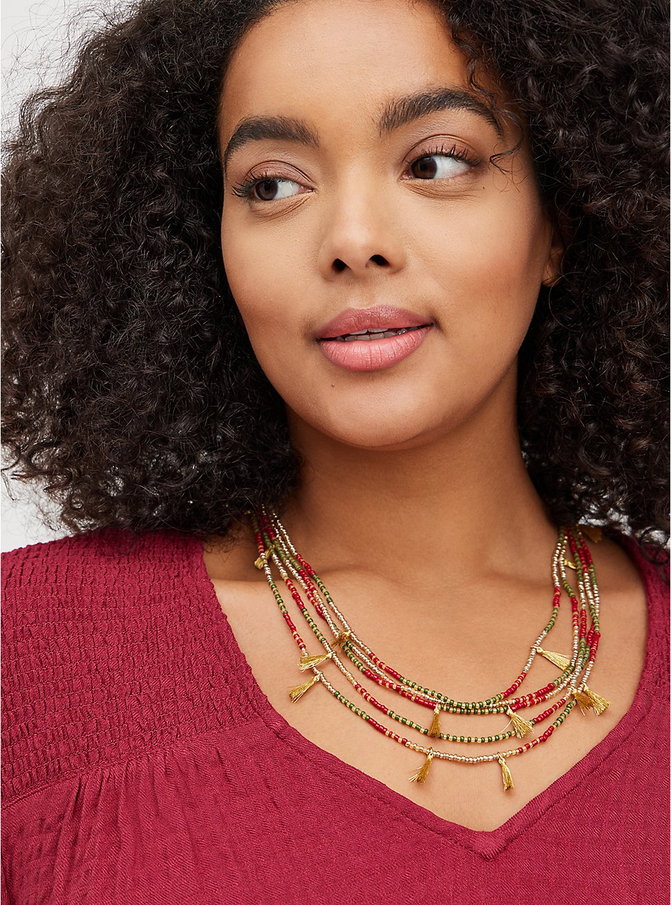 Multilayered Beaded Necklace with Tassels - Burgundy & Olive , , hi-res