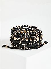 Beaded Multi Row Pull Clasp Bracelet - Black, GOLD, alternate