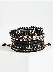Beaded Multi Row Pull Clasp Bracelet - Black, GOLD, hi-res
