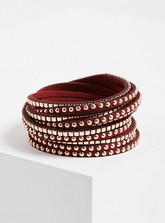Studded Wrap Bracelet - Wine & Gold Tone, PURPLE, hi-res