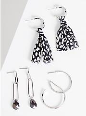 Hoop & Drop Earring With Fabric Wrapping Set of 3 - Silver Tone , , hi-res