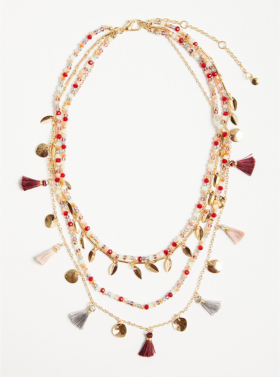 Tassel Layered Necklace - Gold Tone, Blush & Wine, , hi-res