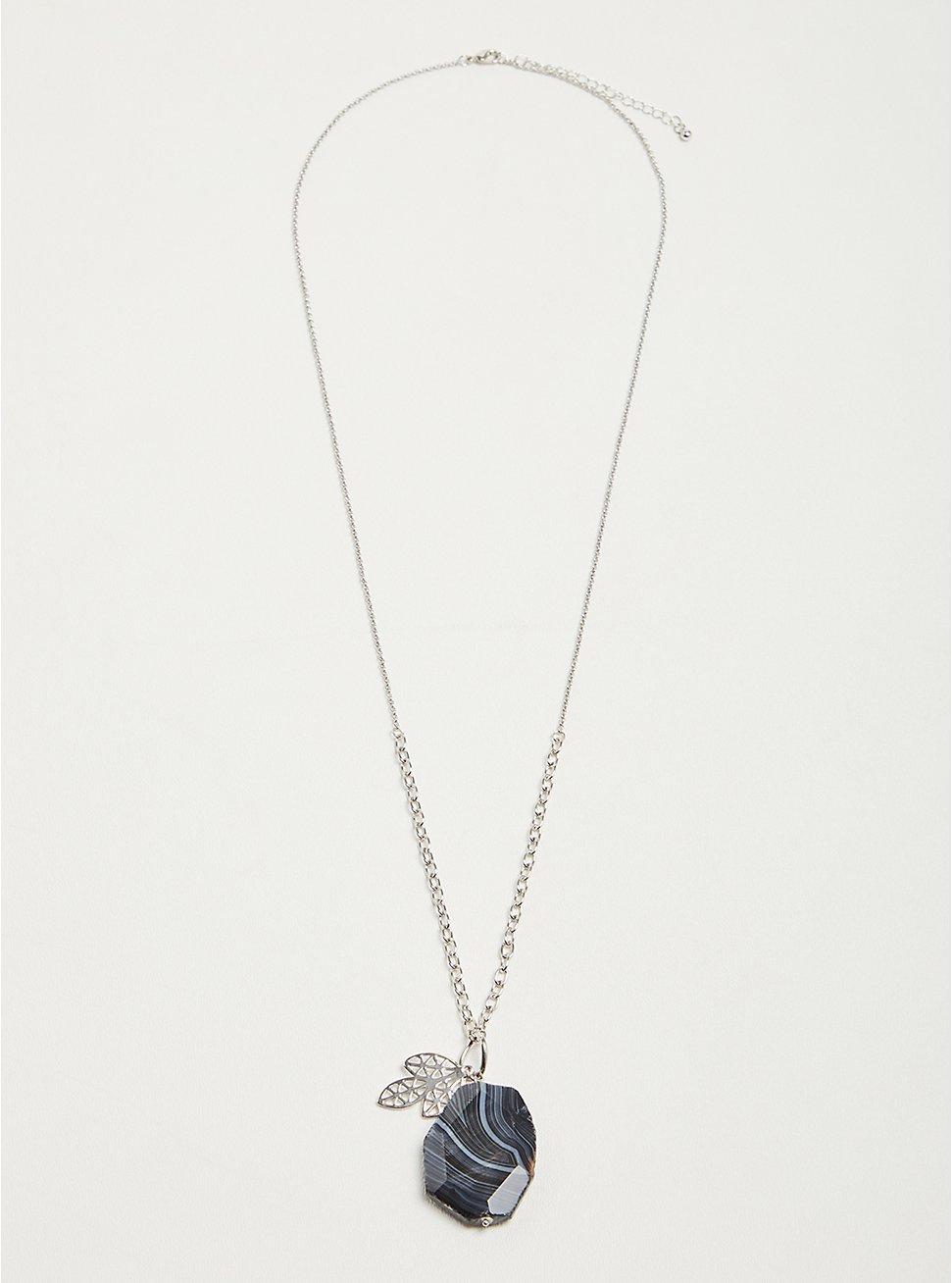 Plus Size Pendant Necklace with Black Faux Stone - Silver Tone, , hi-res