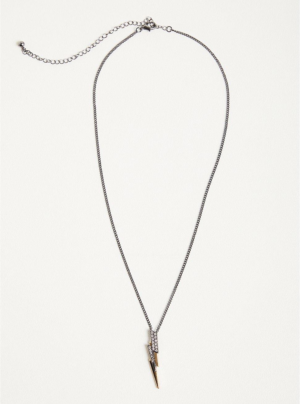 Plus Size Delicate Lightning Bolt Necklace - Gold & Hematite Tone, , hi-res