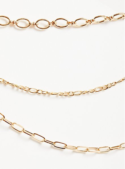 Plus Size Chunky Link Layered Necklace - Gold Tone, , alternate