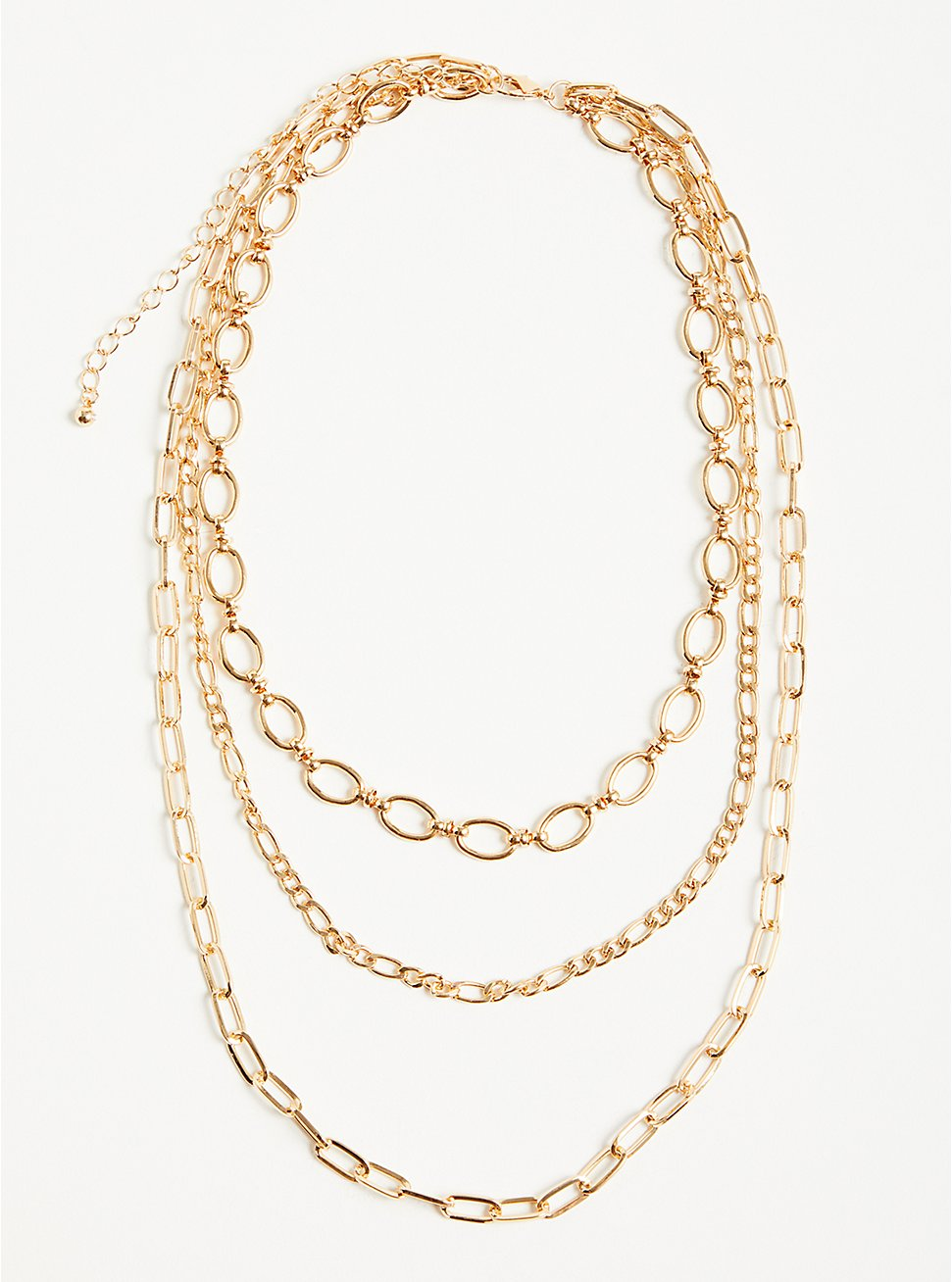 Plus Size Chunky Link Layered Necklace - Gold Tone, , hi-res