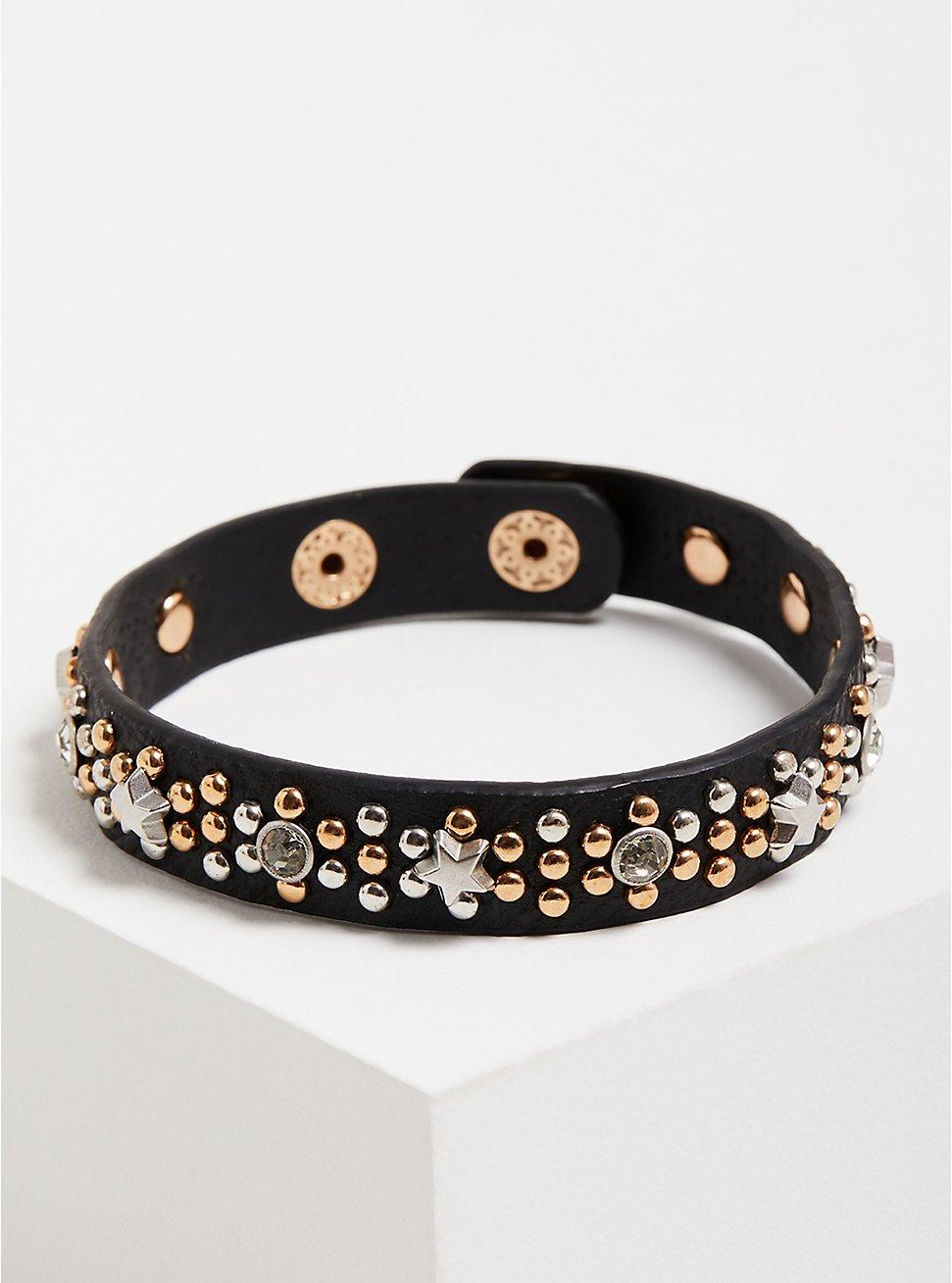 Plus Size Faux Leather Studded Bracelet - Black , BLACK, hi-res