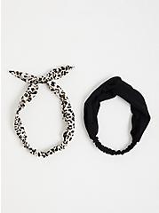 Black & White Leopard Soft Headband Set, , alternate