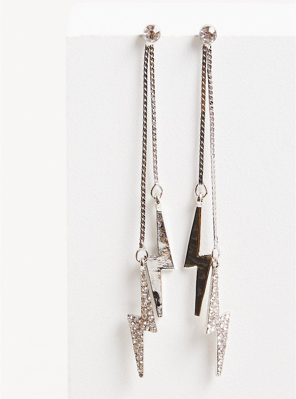 Lightning Bolt Earring - Gold & Silver Tone, , hi-res