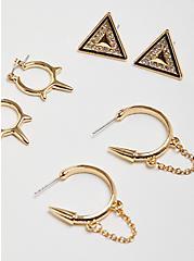 Geometric Huggie Earring Set of 3  - Gold Tone, , alternate