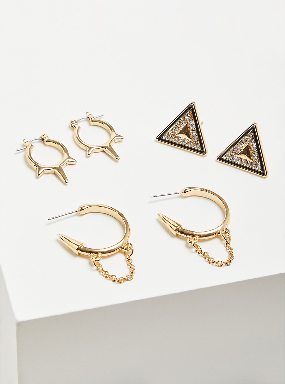 Geometric Huggie Earring Set of 3  - Gold Tone, , hi-res