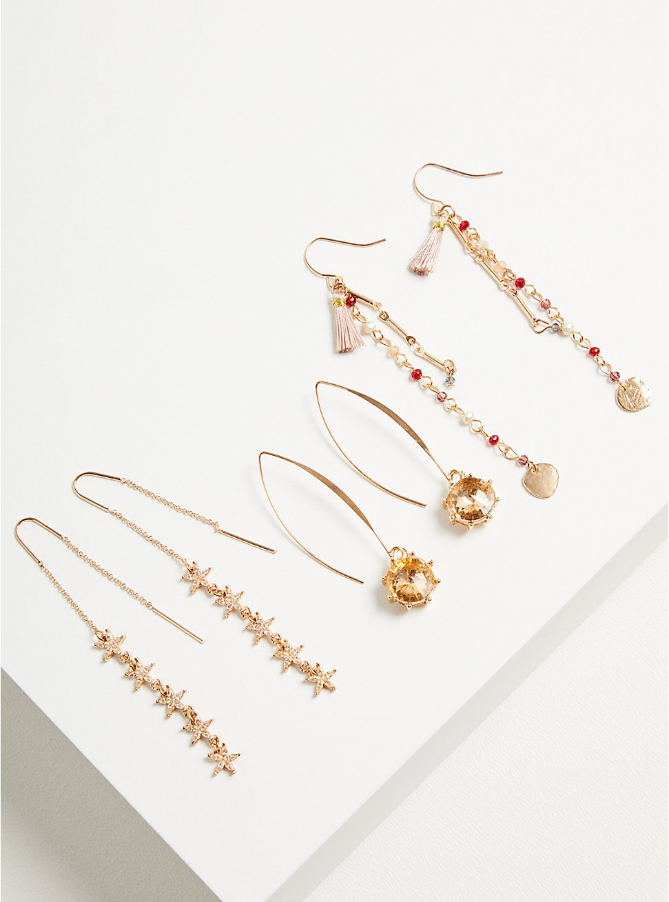 Plus Size Linear Threader Earring Set of 3  - Gold Tone, Blush & Wine, , hi-res