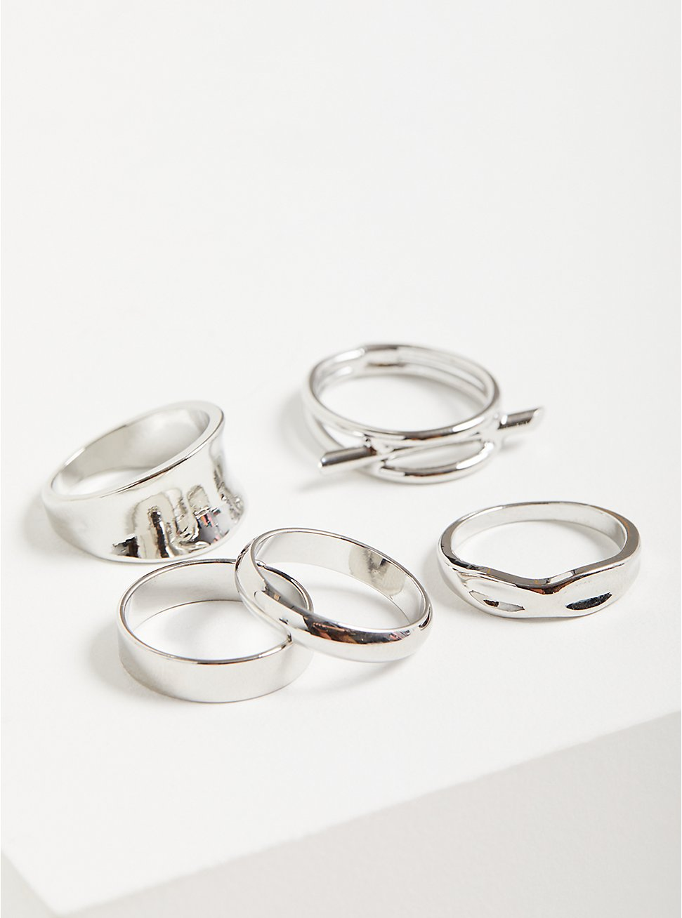 Classic Bar Ring Set of 5 - Silver Tone, SILVER, hi-res