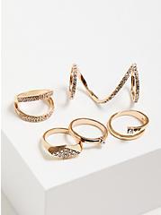 Pave Spiral Ring Set of 5 - Gold Tone, GOLD, alternate