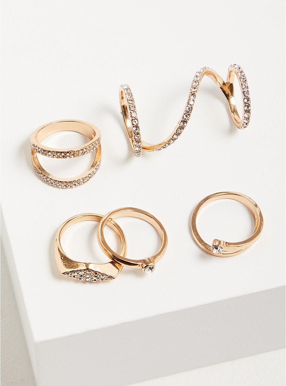 Pave Spiral Ring Set of 5 - Gold Tone, GOLD, hi-res