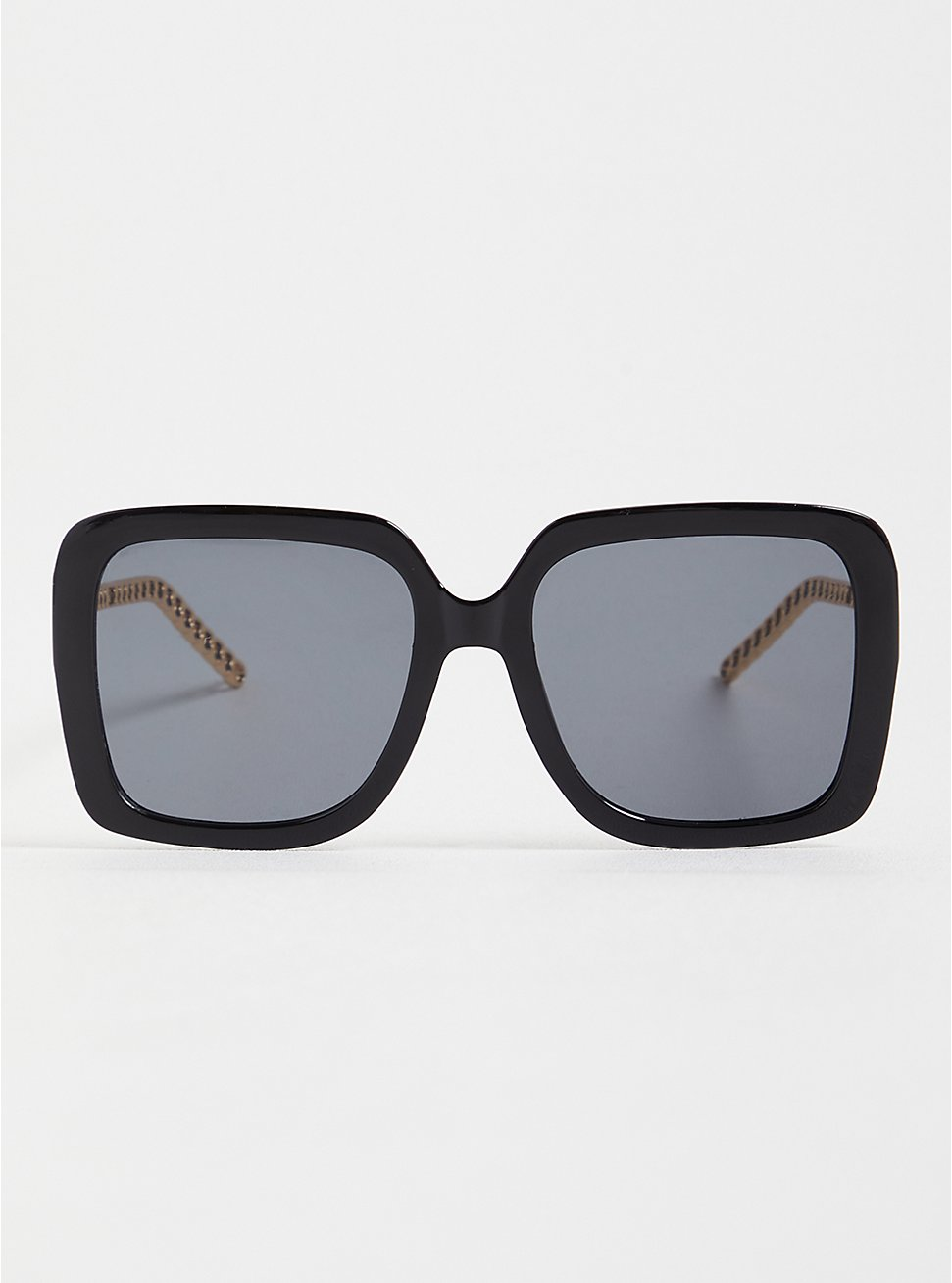 Black Square Oversized Sunglasses With Link Detail , , hi-res