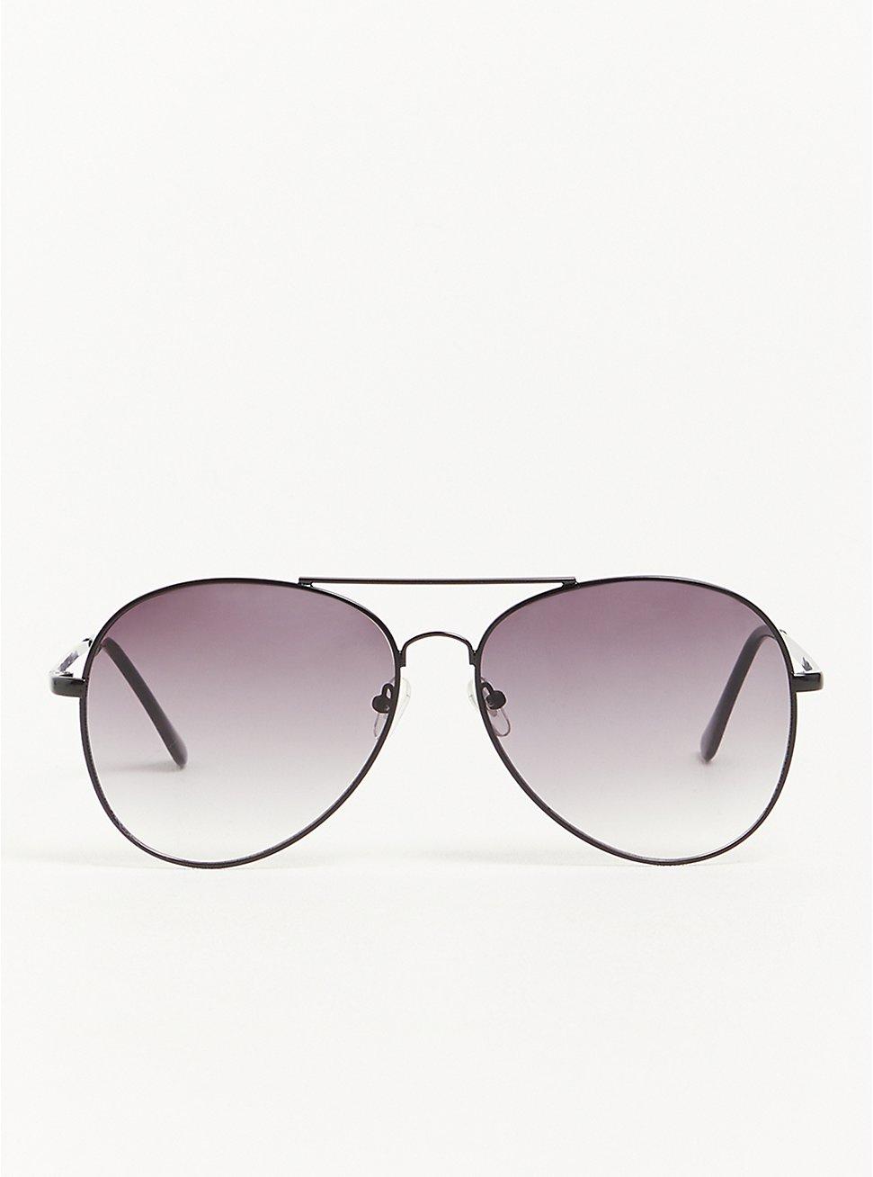 Smoke Lens Aviator Sunglasses - Black Metal, , hi-res