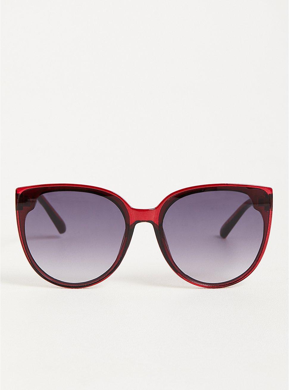 Cat Eye Sunglasses - Burgundy with Smoke Lens, , hi-res