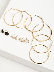 Plus Size Hoops with Black Faux Moonstone Studs Set of 6 - Gold Tone, , alternate